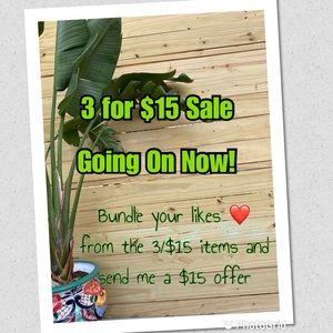 3 items for $15 Sale!!